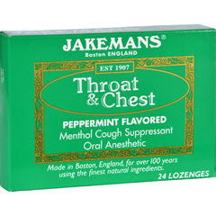 HGR1609155 - JakemansLozenge - Throat and Chest - Peppermint - 24 Count - 1 Case