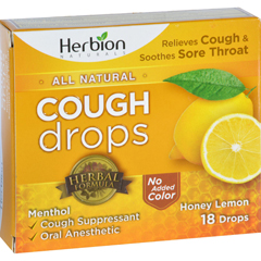 HGR1638253 - Herbion NaturalsCough Drops - All Natural - Honey Lemon - 18 Drops