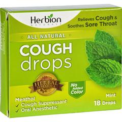 HGR1640069 - Herbion NaturalsCough Drops - All Natural - Mint - 18 Drops