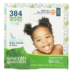 HGR1669993 - Seventh GenerationBaby Wipes - Free and Clear - Multipack - 64 Wipes Each - 6 Count
