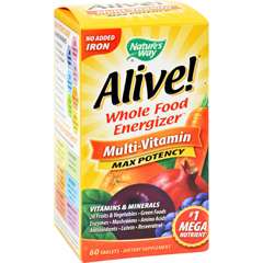 HGR0168054 - Nature's WayAlive Multi-Vitamin No Iron Added - 60 Tablets