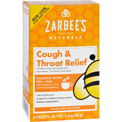 HGR1689843 - Zarbee'sCough and Throat Relief Drink Mix - Daytime Supplement - 6 Packets