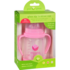 HGR1711662 - Green SproutsCup - Sip N Straw - Glass - 6 Months Plus - Pink - 1 Count