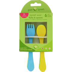HGR1711753 - Green SproutsForks and Spoons - Sprout Ware - 9 Months Plus - Aqua Assorted - 6 Pack