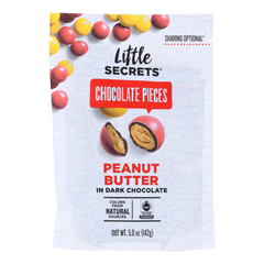 HGR1730597 - Little Secrets - Dark Chocolate Candies - Peanut Butter - Case of 8 - 5 oz..