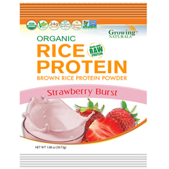 HGR1745462 - Growing NaturalsBrown Rice Protein Powder - Organic - Strawberry Burst - Packets - 1.08 oz - Case of 12