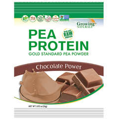 HGR1745488 - Growing NaturalsPea Protein Powder - Chocolate Power - Packets - 1.08 oz - Case of 12