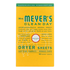 HGR1826981 - Mrs. Meyer's - Clean Day - Dryer Sheets - Honeysuckle - Case of 12 - 80 sheets