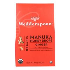 HGR1835396 - Wedderspoon - Drops - Organic - Manuka - 15+ - Ginger - 4 oz.