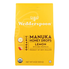 HGR1835404 - Wedderspoon - Drops - Organic - Manuka - 15+ - Lemon - 4 oz.