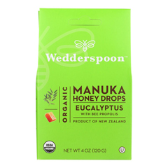HGR1835412 - Wedderspoon - Drops - Organic - Manuka Honey - Eucalyptus - 4 oz.