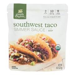 HGR2044097 - Simply Organic - Simmer Sauce - Organic - Southwest Taco - Case of 6 - 8 oz.
