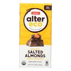 HGR2055598 - Alter Eco Americas - Organic Chocolate Bar - Dark Salted Almonds - Case of 12 - 2.82 oz.