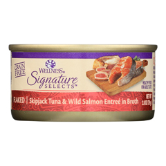 HGR2065548 - Wellness Pet Products - Signature Selects Cat Food - Skipjack Tuna and Wild Salmon Entr©e in Broth - Case of 12 - 2.8 oz..
