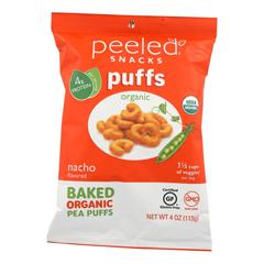 HGR2142677 - Peeled - Organic Bake Pea Puffs - Nacho - Case of 12 - 4 oz.