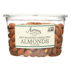 HGR2289064 - Aurora Natural Products - Dry Roasted Unsalted Almonds - Case of 12 - 9.5 oz..