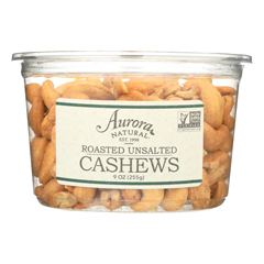 HGR2289114 - Aurora Natural Products - Roasted Unsalted Cashews - Case of 12 - 9 oz..