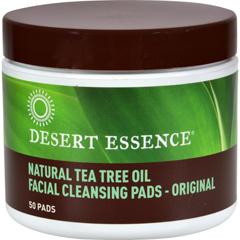 HGR0375089 - Desert Essence - Natural Tea Tree Oil Facial Cleansing Pads - Original - 50 Pads