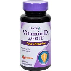 HGR0611806 - Natrol - Vitamin D3 Wild Cherry - 2000 IU - 90 Mini Tablets