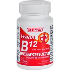 HGR0911727 - Deva Vegan VitaminsB12 Sublingual - 90 Sublingual Tablets