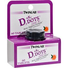 HGR0987925 - TwinlabD3 plus K2 Dots Tangerine - 1000 IU - 60 Tablets