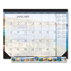 HOD138 - 100% Recycled Earthscapes Seascapes Desk Pad Calendar, 22 x 17, 2019