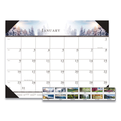 HOD140HD - House of Doolittle™ 100% Recycled One-Color Photo Monthly Desk Pad Calendar