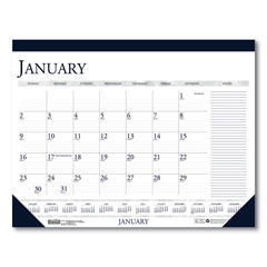 HOD164 - Recycled Two-Color Monthly Desk Pad Calendar with Large Notes Section, 22 x 17, 2022