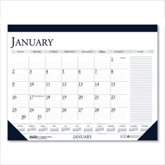 HOD1646 - Recycled Two-Color Monthly Desk Calendar with Large Notes Section, 18.5 x13, 2021
