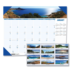 HOD178 - Recycled Coastlines Photographic Monthly Desk Pad Calendar, 22 x 17, 2022