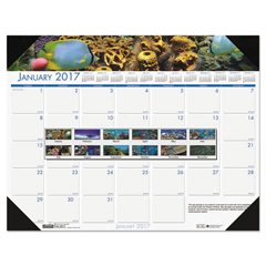 HOD193 - House of Doolittle™ Earthscapes™ 100% Recycled Sea Life Monthly Desk Pad Calendar