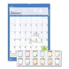 HOD339 - 100% Recycled Seasonal Wall Calendar, 12 x 16 1/2, Blue, 2019