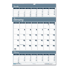 HOD342 - House of Doolittle™ Bar Harbor 100% Recycled Wirebound Three-Months-per-Page Wall Calendar