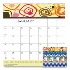 HOD3491 - 100% Recycled Geometric Wall Calendar, 12 x 12, 2021
