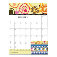 HOD3492 - 100% Recycled Geometric Wall Calendar, 12 x 16 1/2, 2019