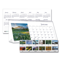 HOD3649 - House of Doolittle™ Earthscapes™ 100% Recycled Scenic Desk Tent Monthly Calendar with Photos