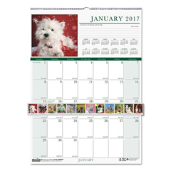 HOD3652 - House of Doolittle™ Earthscapes™ 100% Recycled Puppies Monthly Wall Calendar