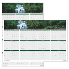 HOD397 - House of Doolittle™ Earthscapes™ 100% Recycled Waterfalls of the World Reversible/Erasable Yearly Wall Calendar