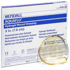 IND61476154-BX - Cardinal Health - Dermacea Aquaflo Hydrogel Wound Dressing Disc 4-3/4, 5/BX