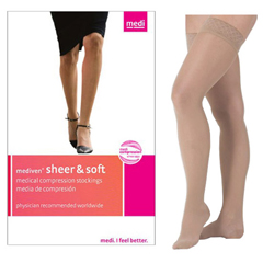 INDNE42602-EA - Medi - Sheer & Soft Thigh High with Silicone Top Band, 15-20, Closed, Natural, Size 2, 1/EA