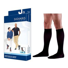 INDSG232CLSM14-EA - Sigvaris - Cotton Comfort Calf, 20-30, Large, Short, Closed, Black Mist, 1/EA