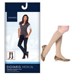 INDSG232CSSW66-EA - Sigvaris - Cotton Comfort Womens Knee-High Compression Stockings Small Short, 1/EA