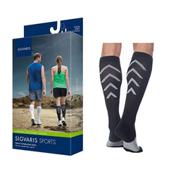 INDSG401CX99-EA - Sigvaris - Athletic Recovery Socks Calf, 15-20, Extra Large, Closed, Black, 1/EA