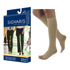 INDSG504CS1O77-EA - Sigvaris - Natural Rubber Calf, 40-50mmHg, Small, Average, Short, Open Toe, Beige, 1/EA