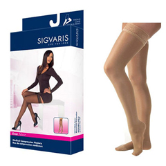 INDSG781NSLW36-EA - Sigvaris - EverSheer Thigh-High with Grip-Top, 15-20, Small, Long, Closed, Suntan, 1/EA