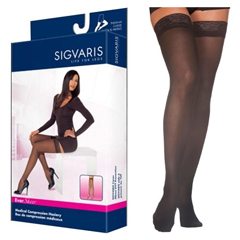 INDSG783NSSW99-PK - Sigvaris - EverSheer Thigh-High with Grip-Top, 30-40, Small, Short, Closed, Black, 2/PK