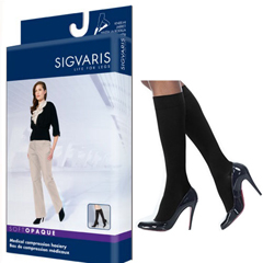 INDSG842CLLW99-PK - Sigvaris - Soft Opaque Calf, 20-30, Large, Long, Closed, Black, 1/PK