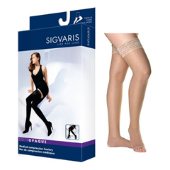 INDSG843NSLO35-EA - Sigvaris - Soft Opaque Thigh-High with Grip-Top, 30-40, Small, Long, Open, Nude, 1/EA