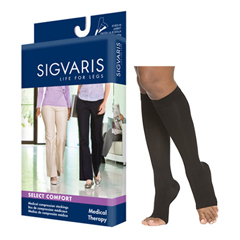 INDSG862CXSO99-EA - Sigvaris - Select Comfort Calf, 20-30, X-Large, Short, Open, Black, 1/EA