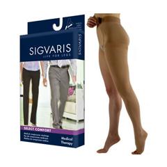 INDSG862WLLO66L-EA - Sigvaris - Select Comfort Thigh-High with Waist Attachment, 20-30, Large, Long, Open, Crispa, Left, 1/EA
